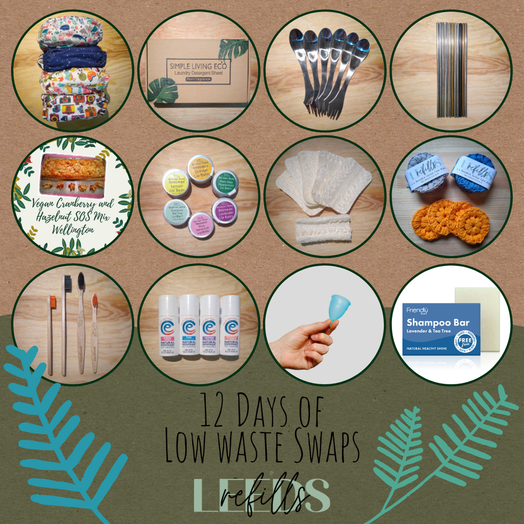 12 days of low waste swap round up - lots of low waste products swaps